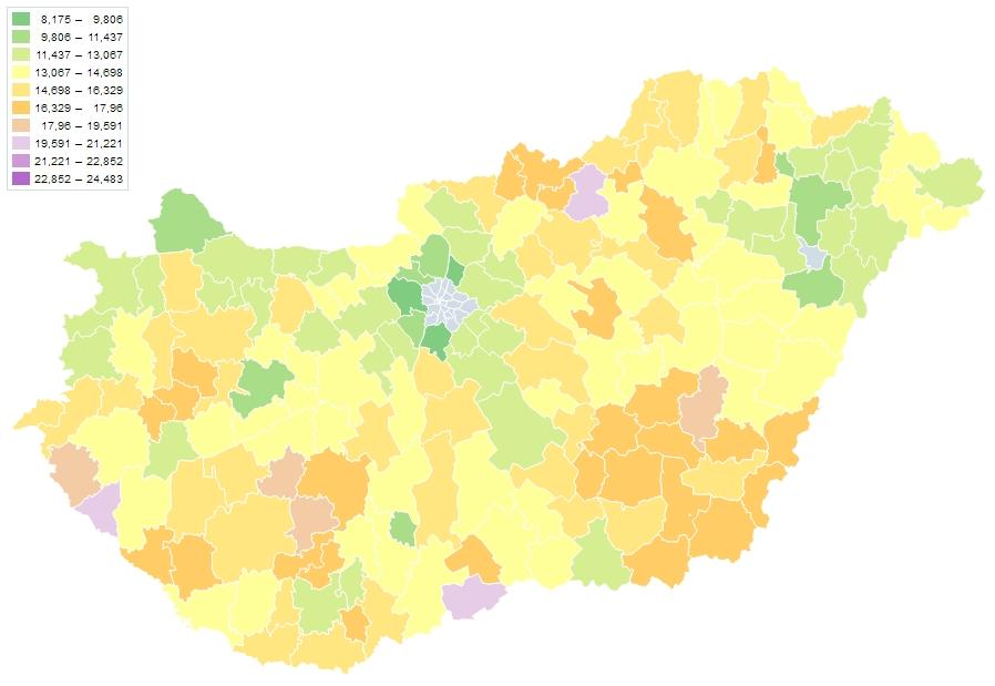 Halálozások száma 1000 lakosra (2017, fő) - Forrás:TeIR