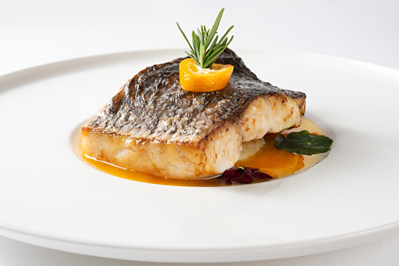 Grilled sea bass with citrus sauce